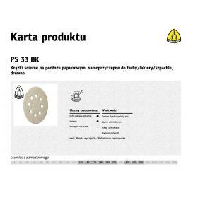KLINGSPOR KRĄŻEK ŚCIERNY SAMOPRZYCZEPNY 125mm PS33BK gr.400 GLS5 8-OTWORÓW/100szt. 147644
