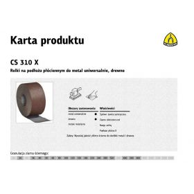 KLINGSPOR ROLKA NA PODŁOŻU PŁÓCIENNYM CS310X 200mm gr. 60  (25mb) 265767