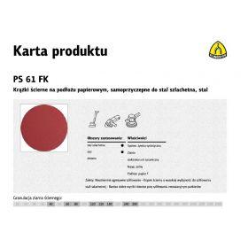 KLINGSPOR KRĄŻEK ŚCIERNY SAMOPRZYCZEPNY 125mm PS61FK gr. 60 /50szt. 322468