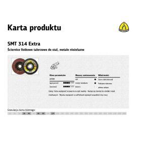 KLINGSPOR ŚCIERNICA LISTKOWA WYPUKŁA SMT314 EXTRA 115mm gr.120 322813