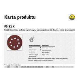 KLINGSPOR KRĄŻEK ŚCIERNY SAMOPRZYCZEPNY 125mm PS22K gr. 40 GLS5 8-OTWORÓW/50szt. 89486