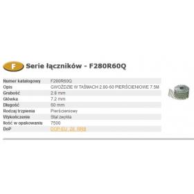 BOSTITCH GWOŹDZIE F 2,80 x 60mm RING 7500szt. F280R60Q