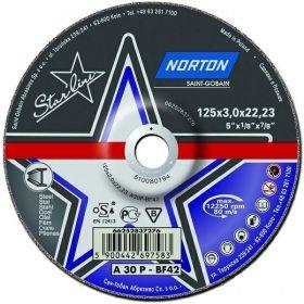 NORTON TARCZA STARLINE DO METALU 125mm x 3.0mm x 22.22mm -T42 A30P 66252837276