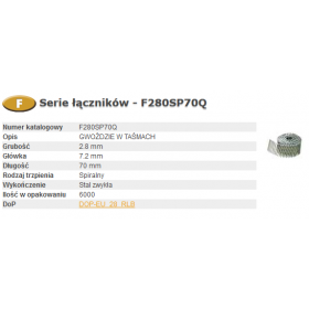 BOSTITCH GWOŹDZIE FAC 2,80-70 SPIRA Q 6m F280SP70Q