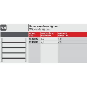 FARAONE RAMA RUSZTOWANIA 135cm wys.200cm F135200