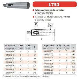 BISON-BIAL TULEJA REDUKCYJNA ZE STOŻKIEM MORSE`A z MS5 na MS3, TYP 1751 BBI-1751-5/3PTPA
