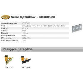 BOSTITCH GWOŹDZIE BRT21 3,80 x 120mm 1288 szt. KB380120