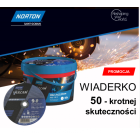 NORTON TARCZA VULCAN DO METALU 230 x 1.9 x 22.2mm- A46S DO METALUWIADERKO 50/szt.+WKRĘTAK WIELOFUNKC 66252847020