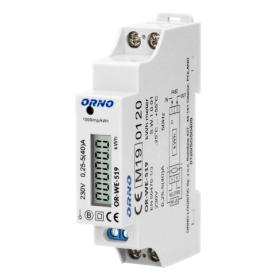 ORNO 1-fazowy licznik energii elektrycznej, 40A, MID, wyjście impulsowe, 1 moduł, DIN TH-35mm OR-WE-519