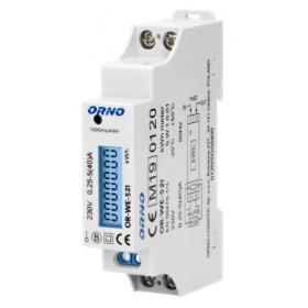 ORNO 1-fazowy licznik energii elektrycznej, 40A, MID, wyjście impulsowe, podświetlenie, 1 moduł OR-WE-521