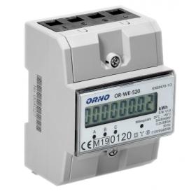 ORNO 3-fazowy licznik energii elektrycznej, 80A, MID, 3 moduły, DIN TH-35mm OR-WE-520