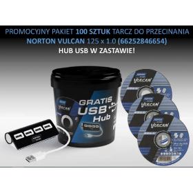 NORTON ZESTAW TARCZ VULCAN 125mm x 1mm METAL/INOX 100szt. WIADERKO+HUB USB 66252846654