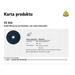 KLINGSPOR KRĄŻEK FIBROWY 125mm gr.100 CS565 /25szt. 204611