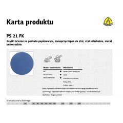KLINGSPOR KRĄŻEK ŚCIERNY SAMOPRZYCZEPNY 150mm  PS21FK gr.180 /50szt. 252774
