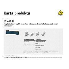 KLINGSPOR PASY BEZKOŃCOWE DO ELEKTRONARZĘDZI CS411X 75mm x 533mm gr. 40 /10szt. STAL SZLACHETNA BCS411X40