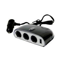 AUTO WELLE ROZGAŁĘZIACZ GNIAZDA ZAPALNICZKI 3x12/24V  + 1 x USB AW07-15