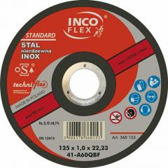 INCOFLEX TARCZA METAL INOX   125*1,6 INOX M411-125-1.6-22B46Q