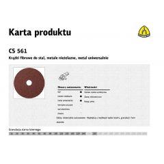 KLINGSPOR KRĄŻEK FIBROWY 235mm gr.100 CS561 /25szt. 66517