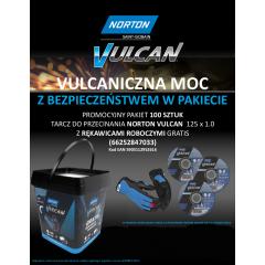 NORTON ZESTAW TARCZ VULCAN 125mm x 1mm METAL/INOX 100szt. WIADERKO+RĘKAWICZKI 66252847033