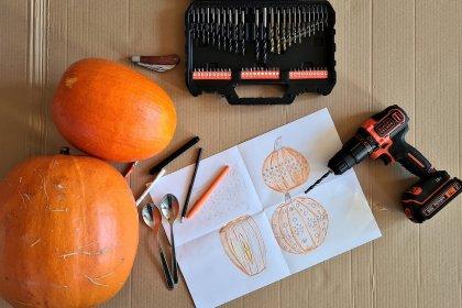 Jak zrobić lampion z dyni przy pomocy wiertarki?